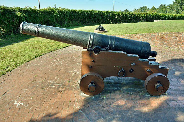 A canon protects Tryon Palace in New Bern, NC