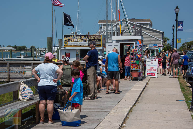 Visitors get ready for ferry rides and tours in downtown Beaufort